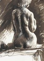 Artist John Cecil Stephenson: Seated Female nude, rear view, 1944