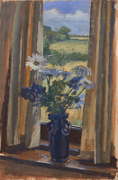 Study with Shasta Daisies in a Blue...
