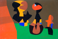 Artist Allan Milner: Three forms in orange, green, brown and blue (F35)