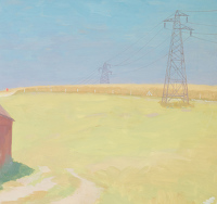 Pylons and corn fields, circa 1930
