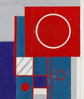 Artist Kathleen Guthrie: Original Design for White, Red and Blue Circles in Square, c. 1939