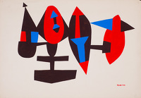 Artist Allan Milner: Mobile in brown, red and blue (F100), circa 1960