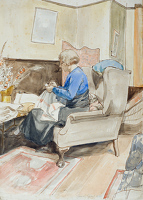 The artist's Mother sewing