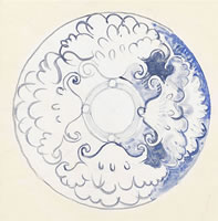 Design for a blue  and white plate...