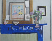 Still life of blue chimney with...