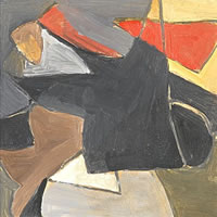 Artist Michael Canney: Untitled, black and red on mustard and grey, circa 1970