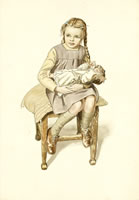 Crsitine seated on a stool with doll...