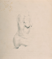 Half length seated nude, profile view