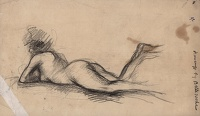 Study of a model reclining on her front