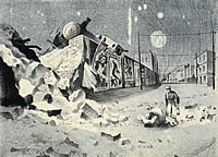 Derailed locamotive in  bomb damaged...