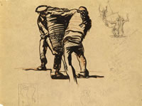 Men carrying a basket -Study for...